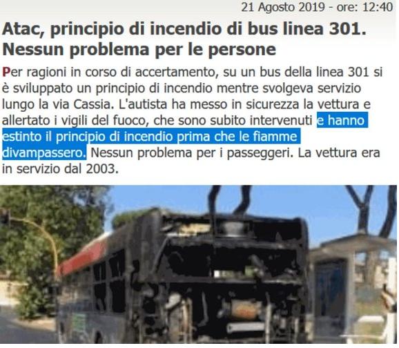 La Situazione Trasporto Pubblico a Roma lunedì 26 agosto