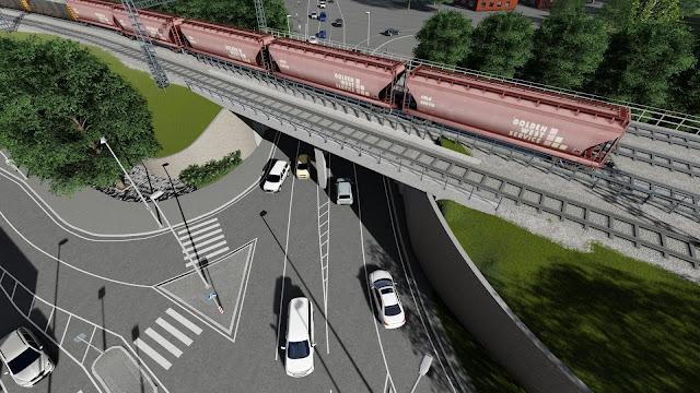 Paldiski maantee uue viadukti renderdus, Eesti Raudtee