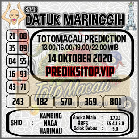 Syair Datuk Maringgih Toto Macau Rabu 14 Oktober 2020