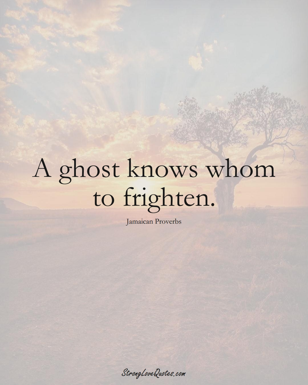 A ghost knows whom to frighten. (Jamaican Sayings);  #CaribbeanSayings