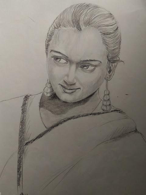 Beautiful woman pencil sketch