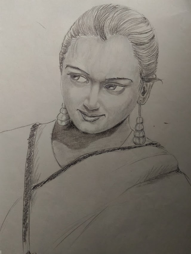 Beautiful woman pencil sketch