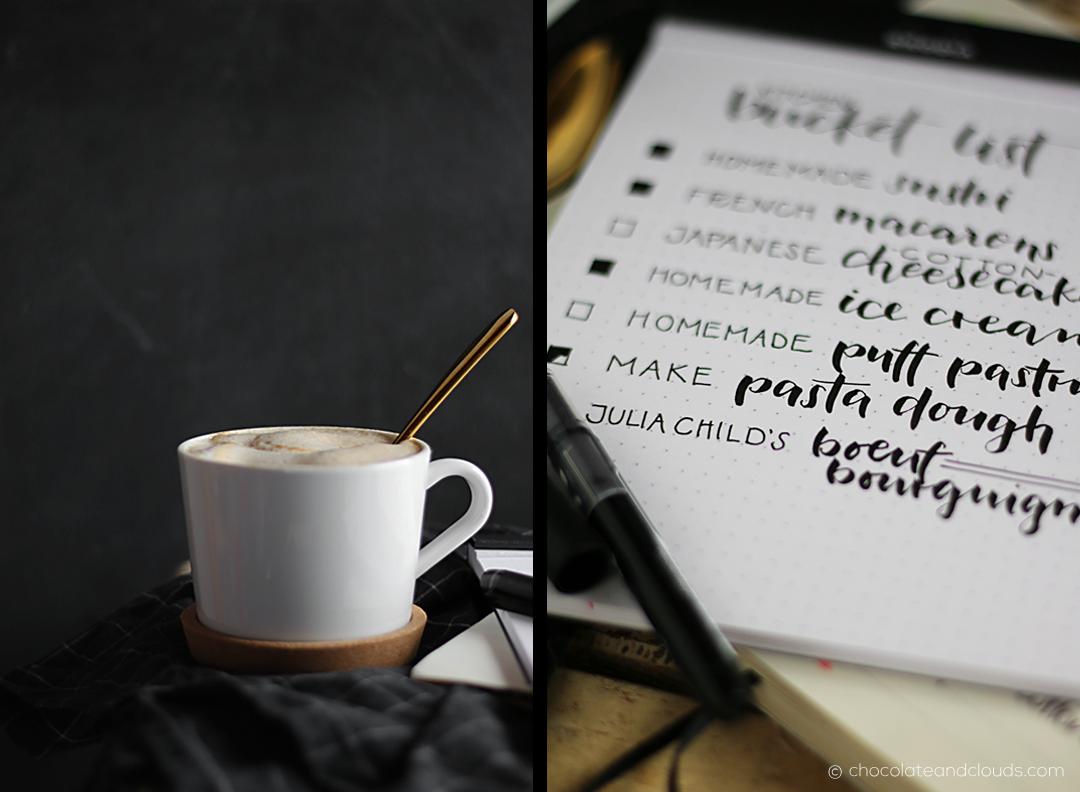 kitchen bucket list and coffee