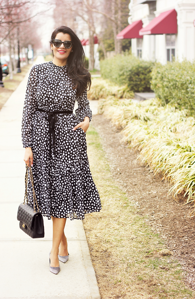 Spring/Summer Outfit Ideas, Black And White Polka Dot Dress, Polka Dot Dress, Polka Dot Midi, eShakti Dress Review, Kate Middleton Style