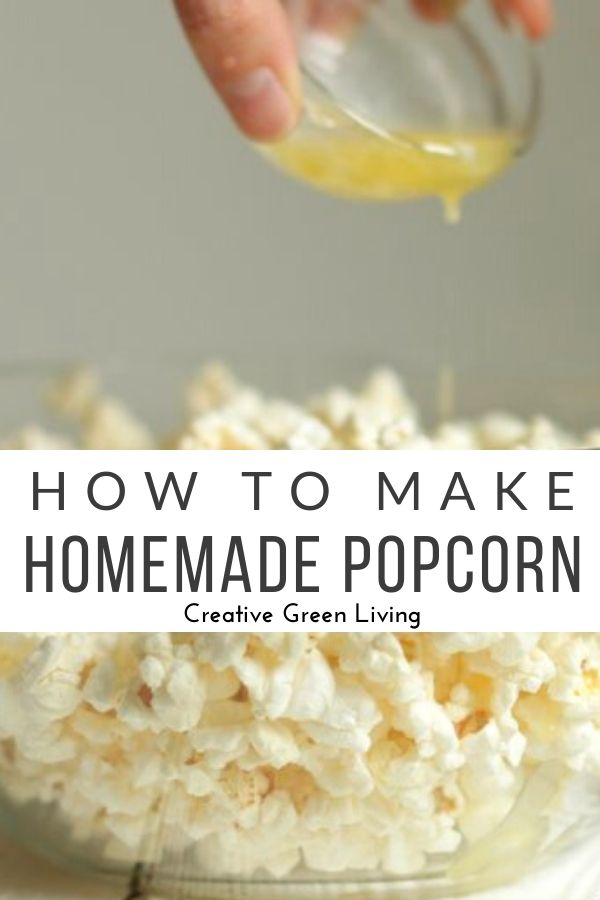 How to make homemade popcorn. This easy popcorn recipe can be tossed with your favorite seasoning for a healthy snack anytime. Get movie theater flavor using your microwave without any sketchy chemicals. This is the perfect base for making popcorn balls or snacks for parties. #homemadepopcorn #popcorn #creativegreenkitchen