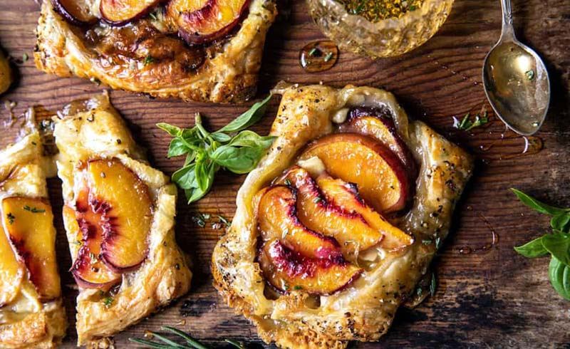 Peach Brie Pastry Tarts with Peppered Rosemary Honey