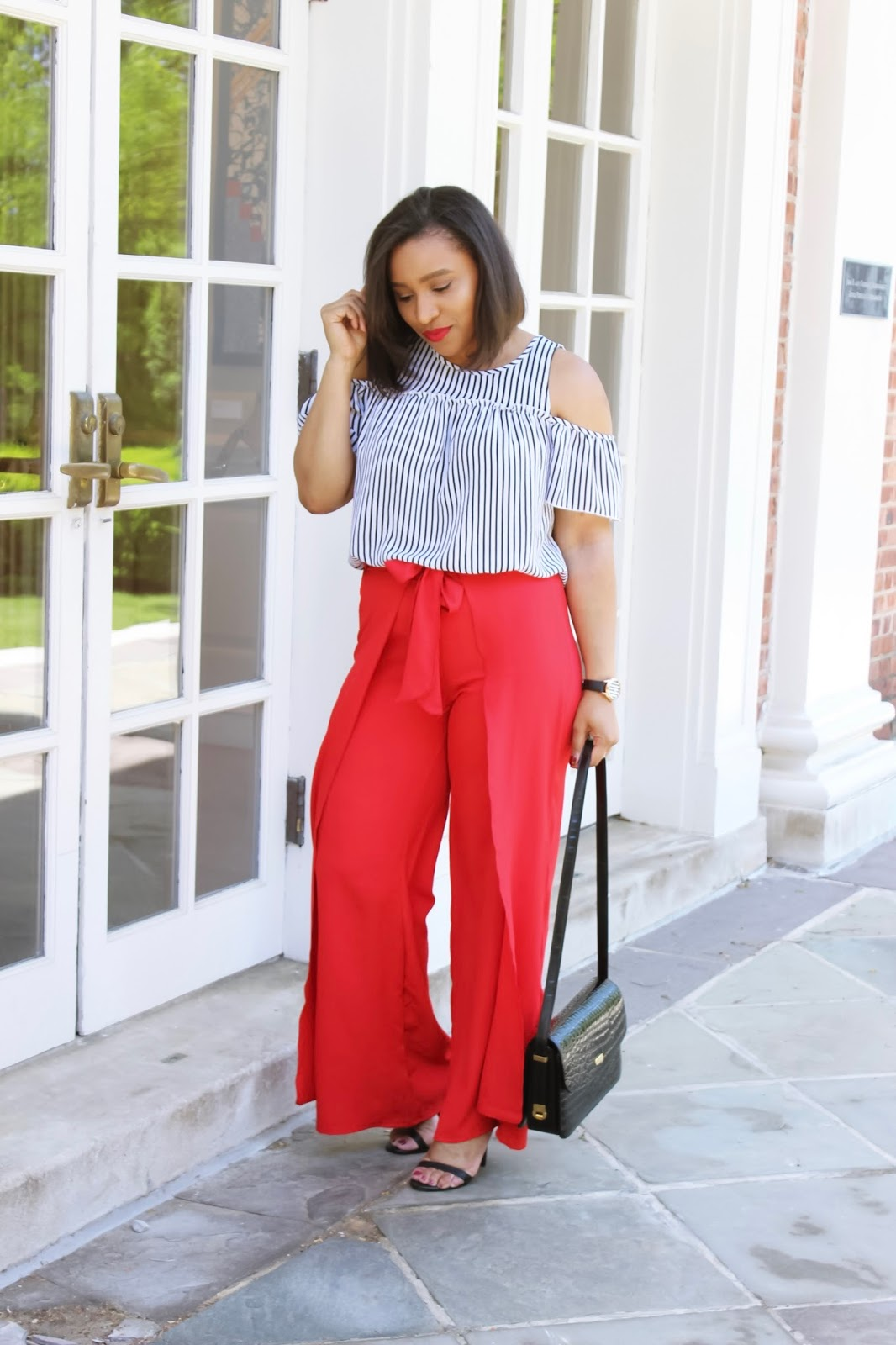 Chiffon Wrap Palazzo Pants, red pants, off the shoulder, summer looks, cold shoulder, striped summer tops, flower eyewear sunglasses, summer outfit ideas, wide leg pant, red pants
