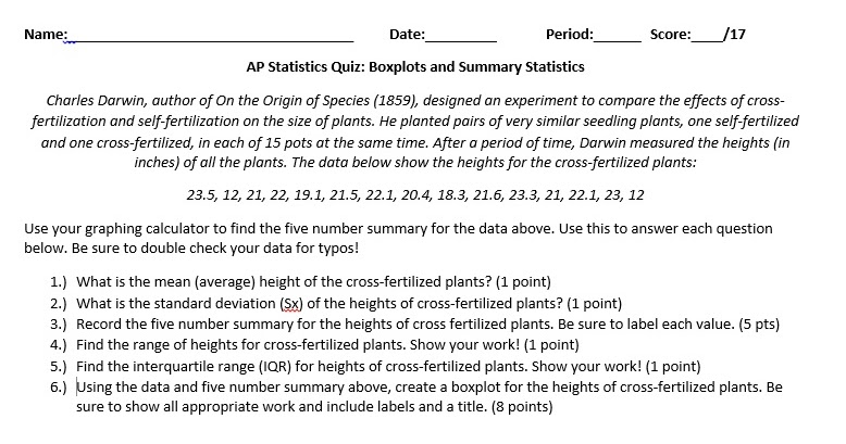 statistics test with answers