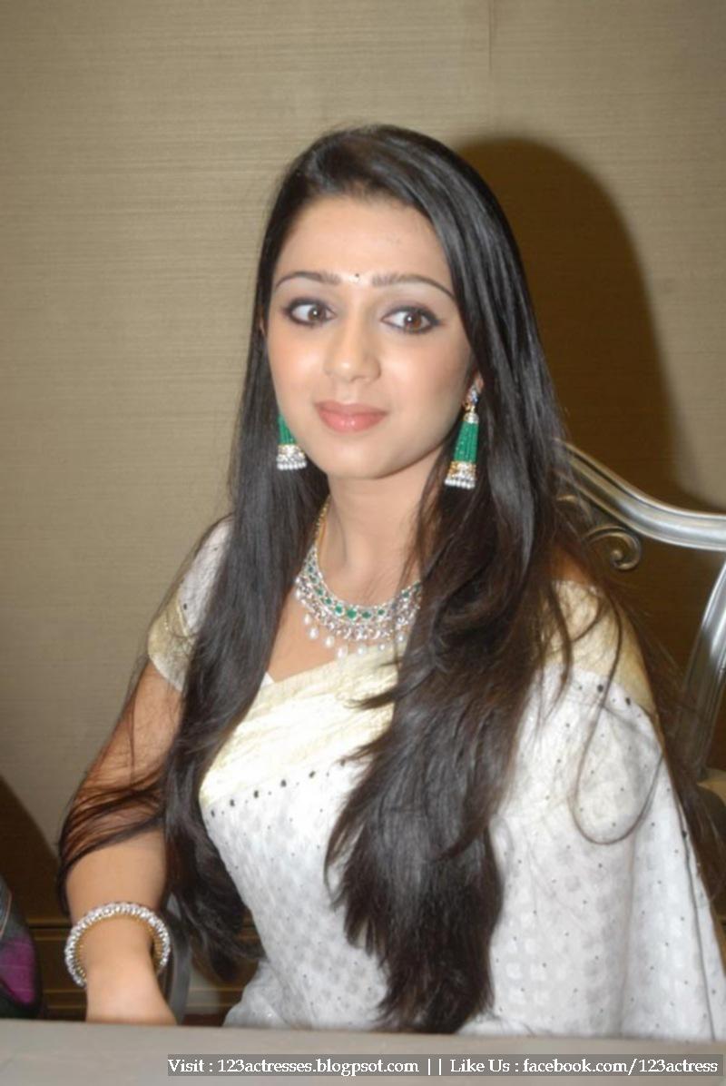Charmi White Saree Jewellery Inauguration Event Stills