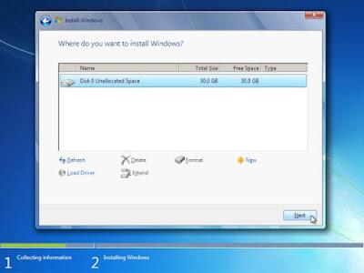 Parisi untuk menginstall Windows 7