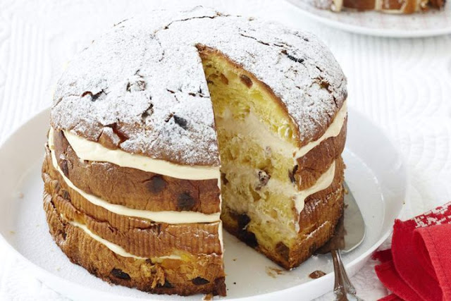 Repeat layers twice more finishing with top of panettone Tiramisu Christmas cake recipe
