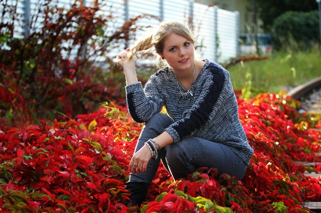 Outit knit strickpulli shooting weinherbst