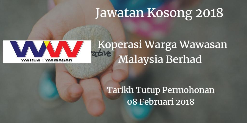 Jawatan Kosong Koperasi Warga Wawasan Malaysia Berhad 08 Februari 2018