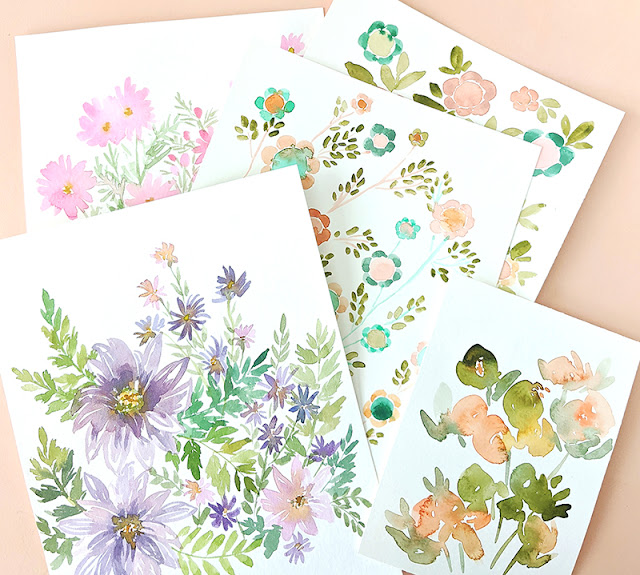 original watercolor flower paintings by Elise Engh