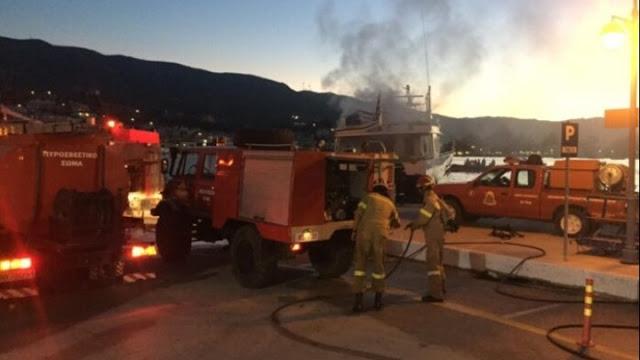 Στο Νοσοκομείο Άργους δυο τραυματίες από τη φωτιά σε πλοίο στον Πόρο