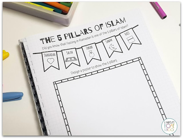 The 5 pillars of Islam page from the Ramadan Journal