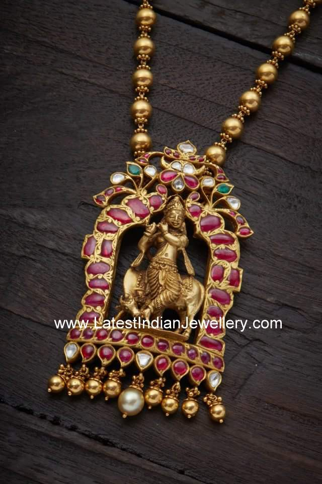 Lord Krishna Temple Haram Latest Indian Jewellery Designs