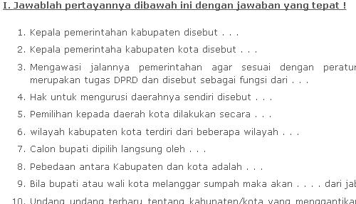 Soal PKN Kelas 4 SD Bab Pemerintahan Pusat