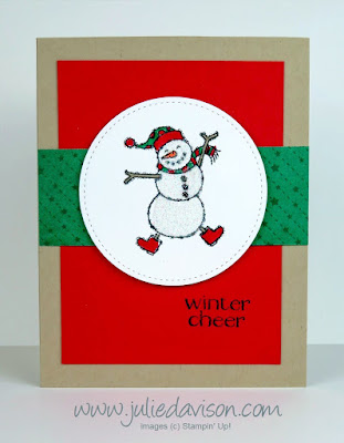 Stampin' Up! Spirited Snowmen Christmas Card ~ 2018 Holiday Catalog ~ www.juliedavison.com