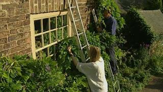 Joanna clears her bedroom window