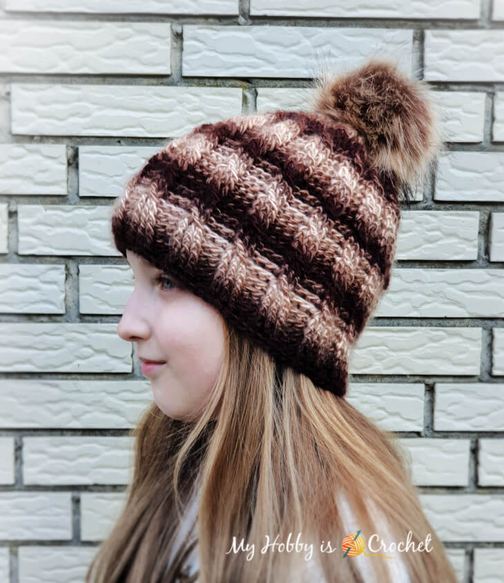 crochet cable rib crochet hat, child size