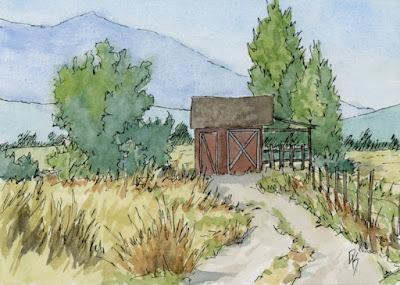 rural landscape pen watercolor open land shed