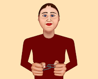 Cartoon version of me linking, by Wendy Cockcroft for On t'Internet