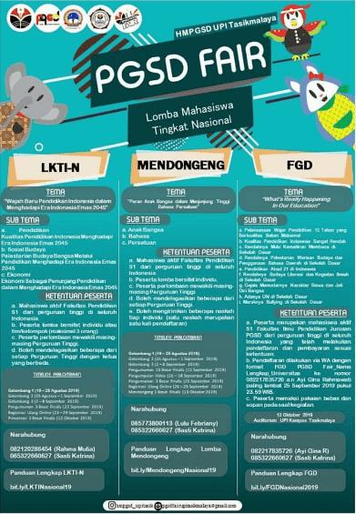 Event PGSD Fair Nasional UPI Tasikmalaya 2019 Untuk Mahasiswa