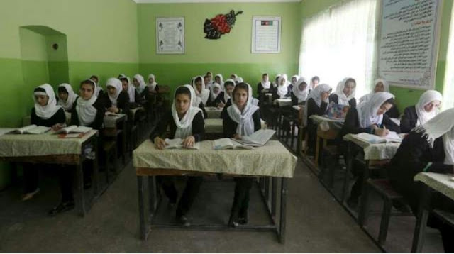 """Alt: = """"photo showing female students in Afghan school"""""""