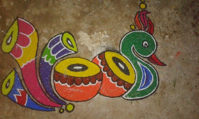 Peacock Rangoli Designs, best rangoli design, new year rangoli design