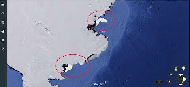 Partes da Antártida com cores diferentes no gelo