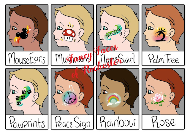 mouse ears,  mushroom, name swirl, palm tree, paw prints, peace sign, rainbow, and rose cheek art