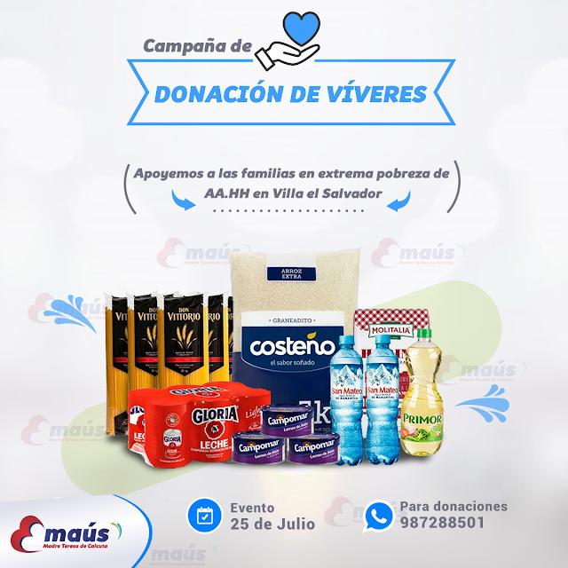 Campaña donación de Alimentos no perecibles para las familias de AA.HH en Villa el Salvador