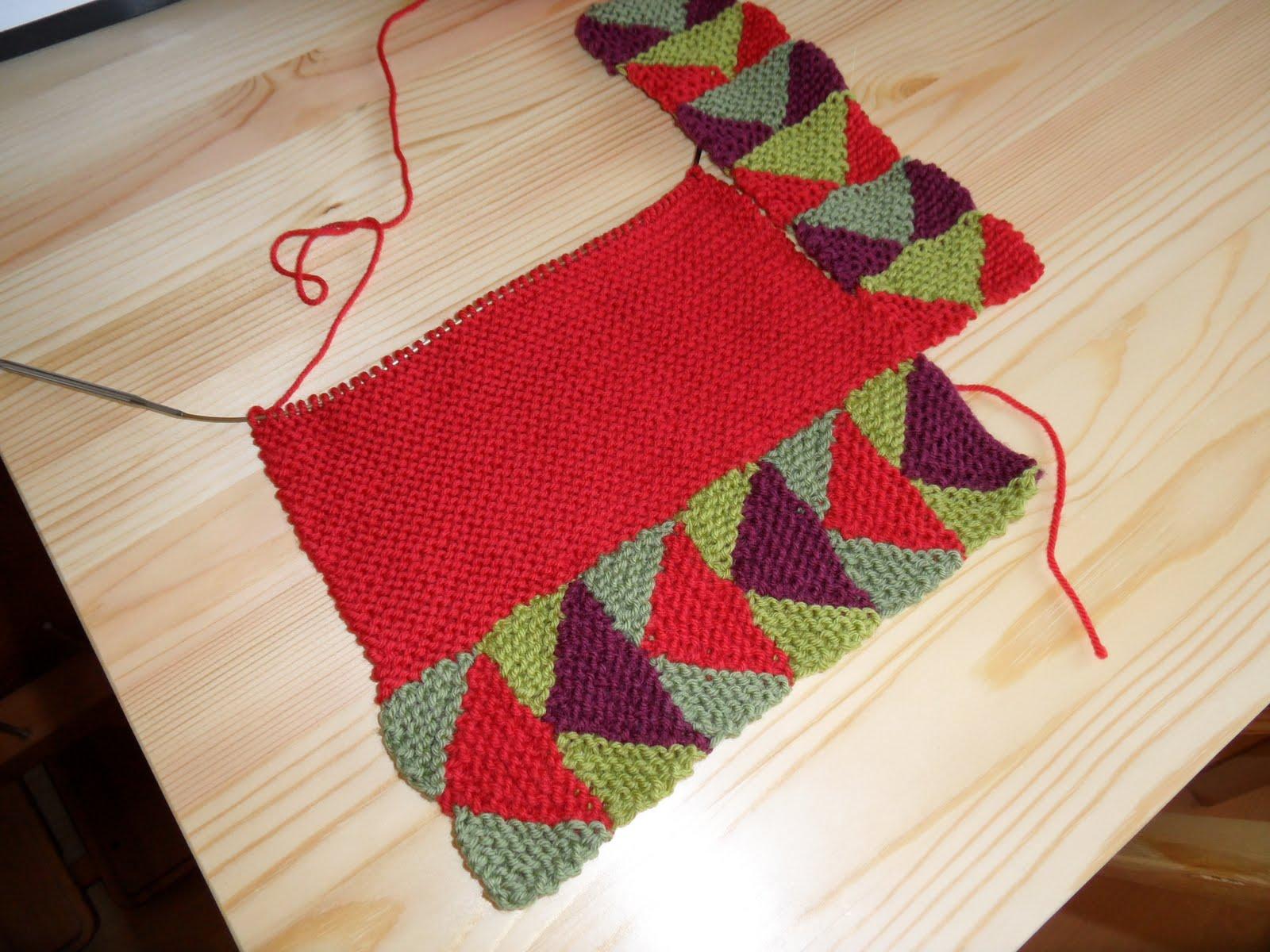 80fd16ddacce2 Flying Geese Blanket WIP. Am so enjoying knitting this.