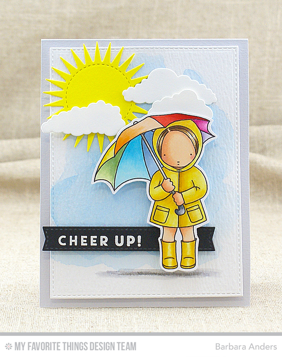 Cheer Up Card by Barbara Anders featuring the Blue Skies Ahead and Pure Innocence Sunny Thoughts stamp sets and the Blueprints 2, Blueprints 24, In the Clouds, and Radiant Sun Die-namics #mftstamps