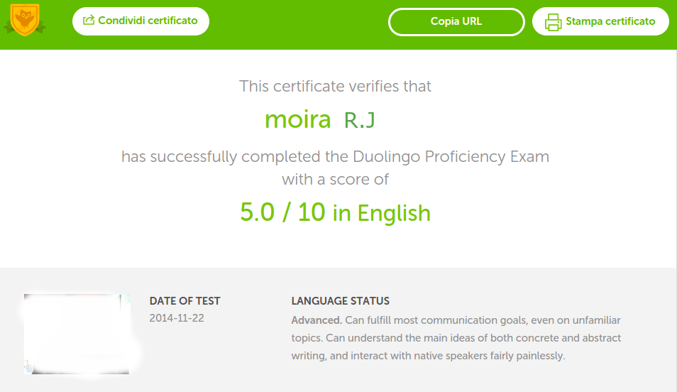 certificato di inglese di duolingo