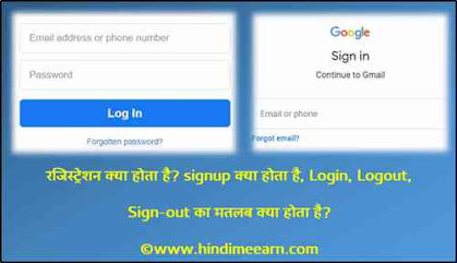 Registration Login, Logout, Sign-out Meaning in Hindi
