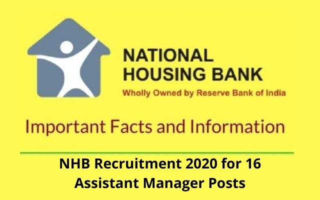 NHB Recruitment 2020 for 16 Assistant Manager Posts