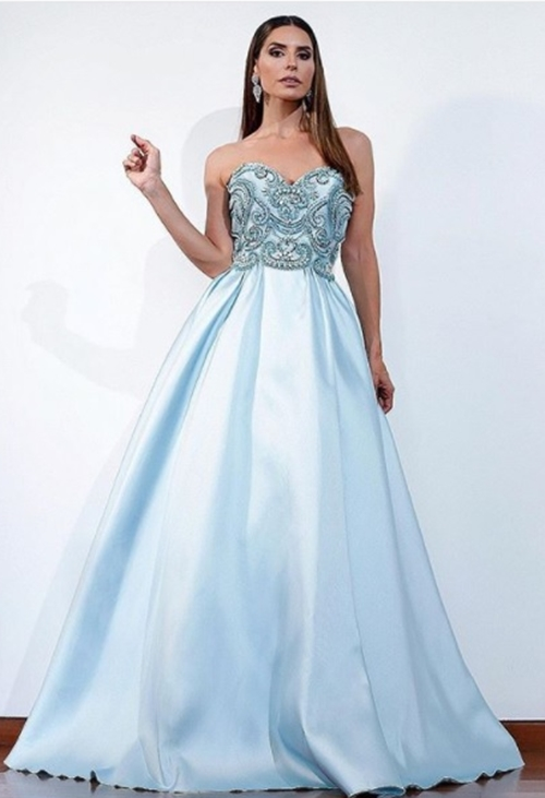 vestido de festa azul claro princesa