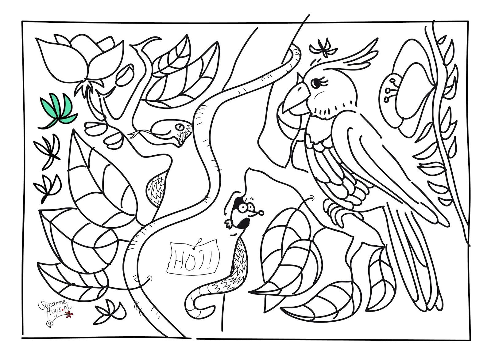 Gratis Kleurplaten Jungle Dieren Coloring And Drawing
