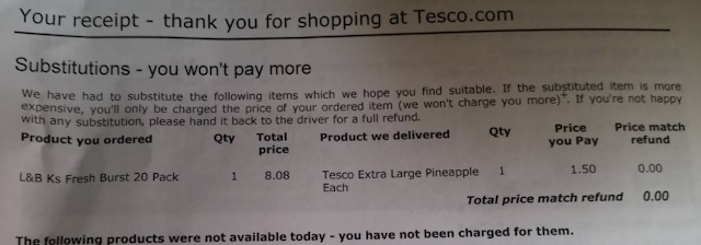 Substitutions from Tesco. 20 cigarettes substituted for a pineapple