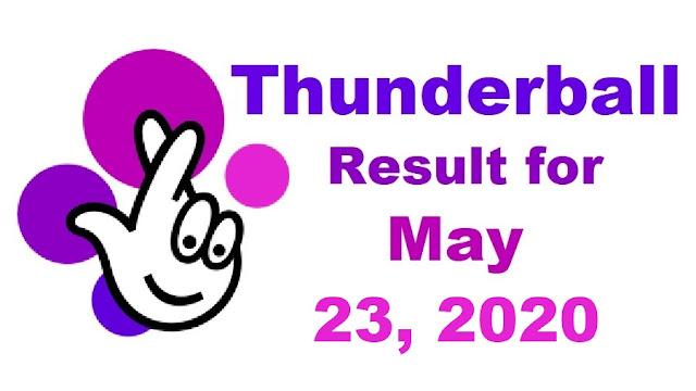 Thunderball Results for Saturday, May 23, 2020