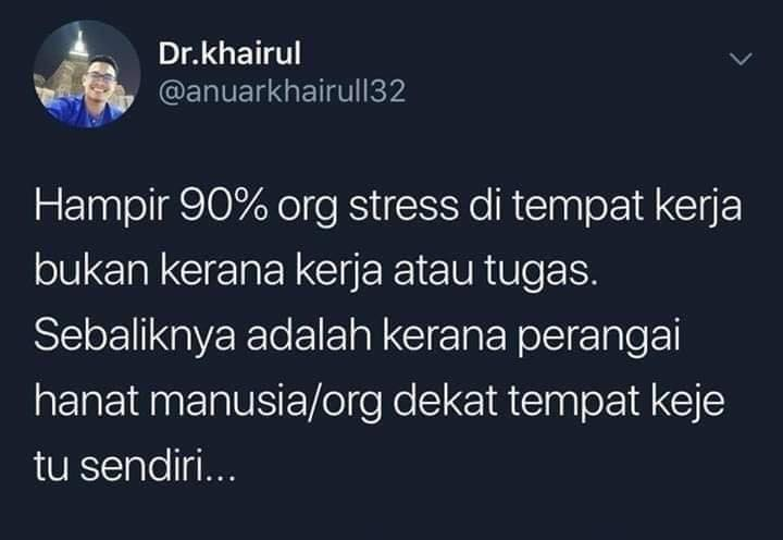 Stress tak tempat kerja korang?