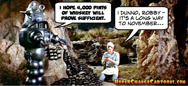 obama, obama jokes, political, humor, cartoon, conservative, hope n' change, hope and change, stilton jarlsberg, trump, cruz, fiorina, forbidden planet, monster, id, robby, robot, whiskey