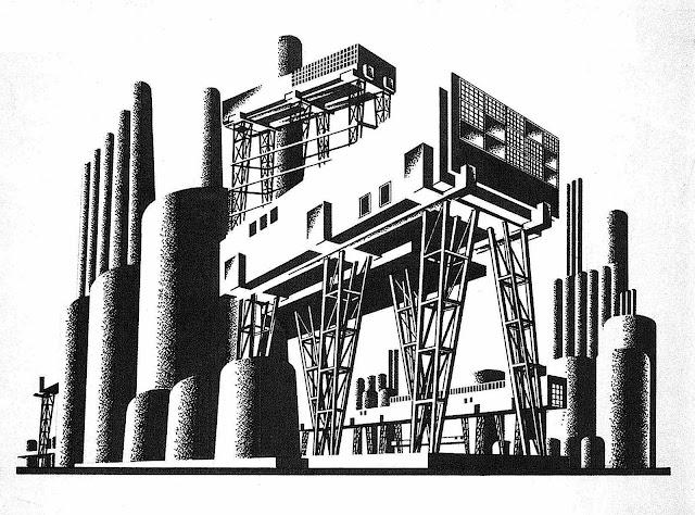 an Iakov Chernikhov constructivism-style factory