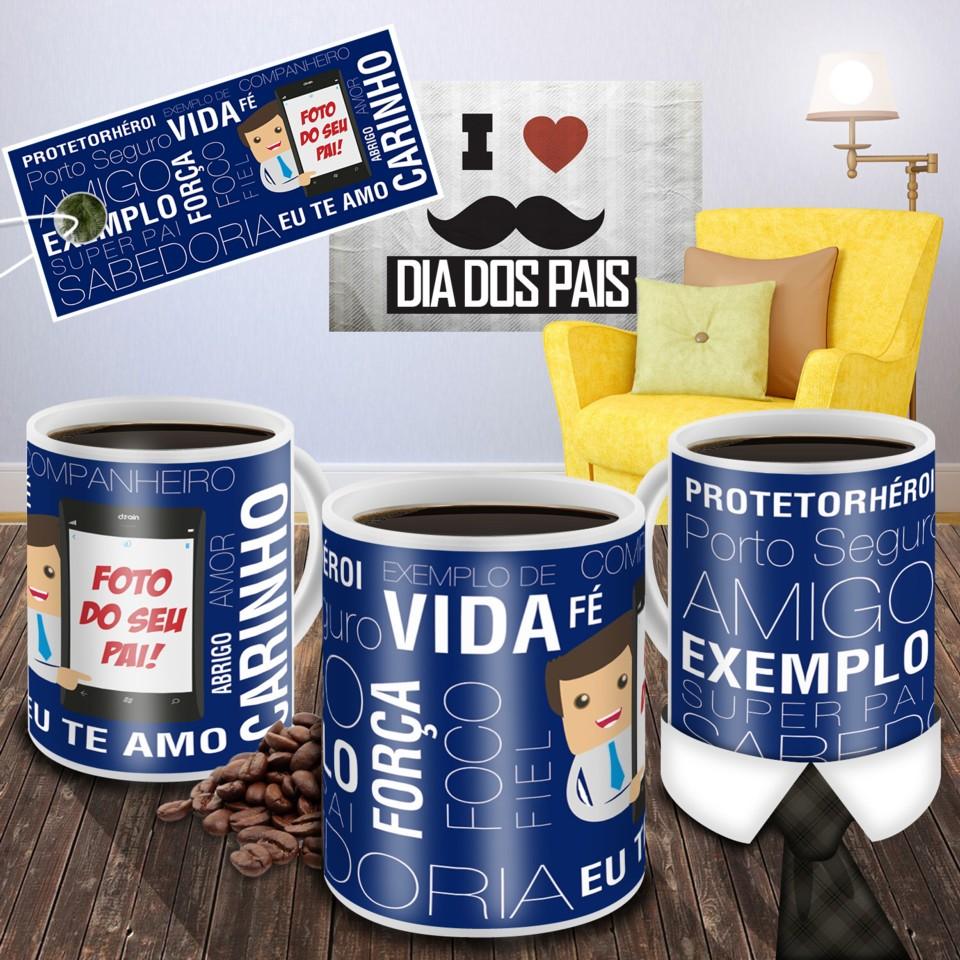 Caneca com Foto Pai no Celular Azul