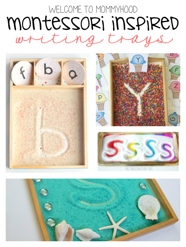 Montessori writing trays by Welcome to Mommyhood #montesori, #writingactivities, #preschoolactivities