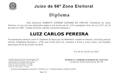 Diploma do suplente de vereador Luiz Carlos Pereira. Café com Jornalista