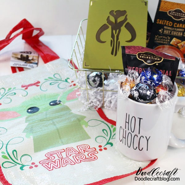 Handmade gifts are my favorite part of the holidays! Most of the time I do customized gifts or add things to store bought things. This fabulous gift basket idea is perfect for anyone that loves the Star Wars Mandalorian on Disney Plus.