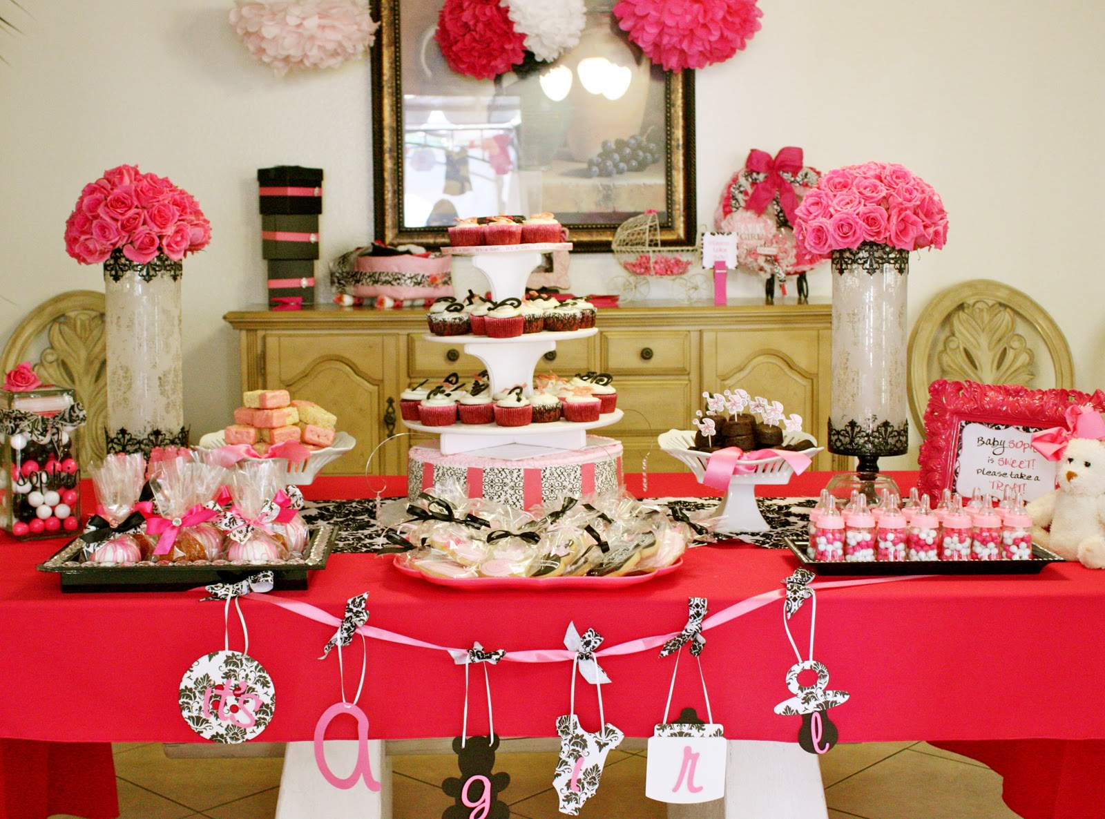 Tini Sophia S Baby Shower Pink Black And White Theme